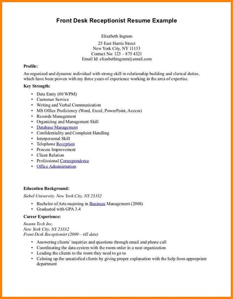 front desk receptionist resume student resume template