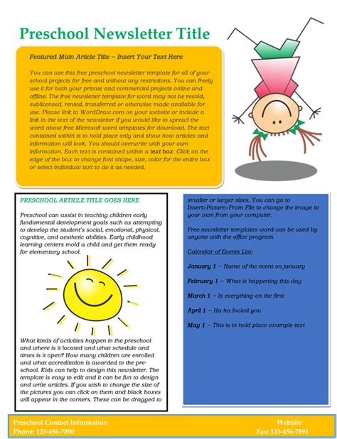 16 preschool newsletter templates easily editable and 708 | Free Editable Newsletter Template for Preschool and Parents