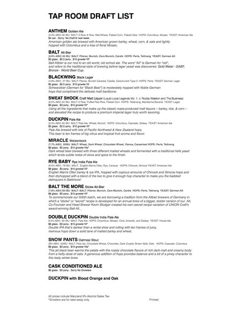 Union Craft Brewing » Tap Room Draft List As Of 362015
