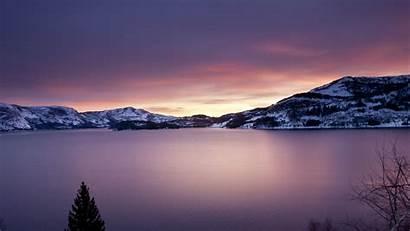 Mountain Lake Sunset Winter Nature Snow Landscape