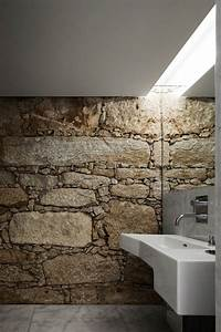 50 wonderful stone bathroom designs digsdigs With carrelage adhesif salle de bain avec escalier a led