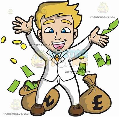 Lucky Clipart Guy Money Cartoon Clipground Rejoicing