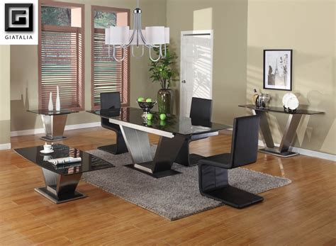 viva black granite contemporary extending dining table set