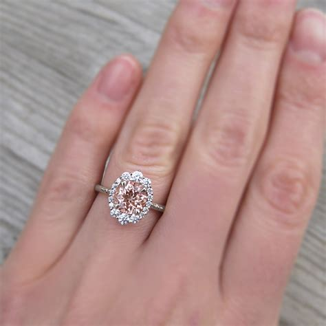 Peach Champagne Sapphire Engagement Ring & Diamond Halo
