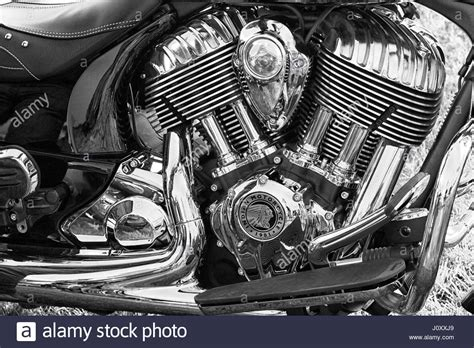 Chromed Engine On A Classic Indian Motorcycle Stock Photo