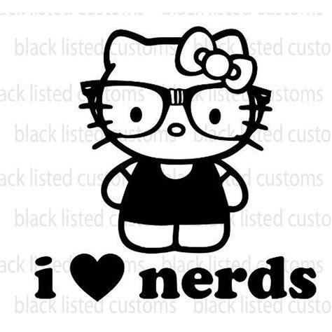 Hello Kitty I Love Nerds BLACK Glasses Heart Vinyl Decal