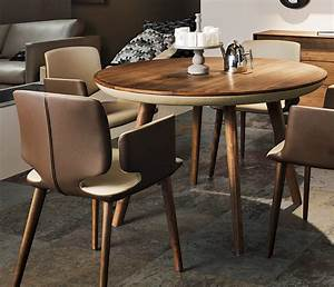 Round Wood and Leather Dining Table Wharfside Luxury
