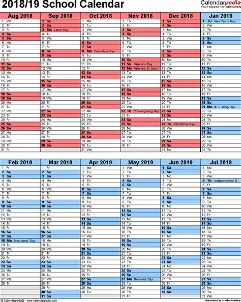 2018 2019 school calendar template school calendars 2018 2019 as free printable excel templates