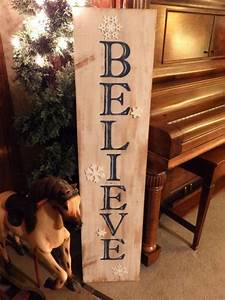 Large, Vertical, Distressed, Blue, U0026, White, Believe, Sign, With, Glitter, Snowflakes, Wood, Handpainted
