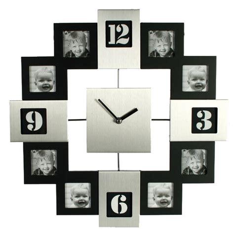 cuisine et vin horloge cadre photo silver et