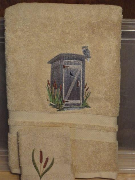 rustic outhouse embroidered bath towel set bath towel