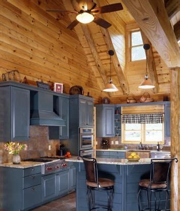 log home kitchen  gray cabinetry