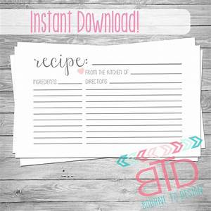 recipe card printable recipe card instant download kitchen With 5x7 recipe card template for word