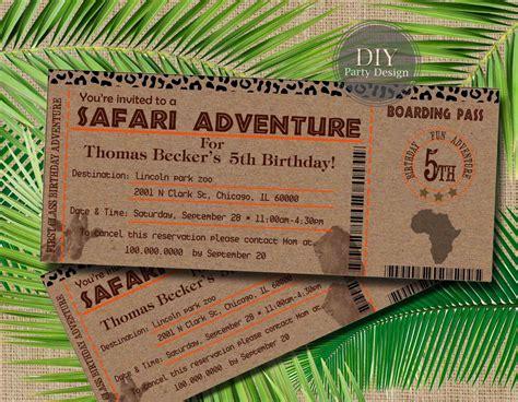 Safari Ticket Birthday Invitation Baby Shower Invitation