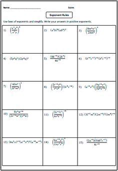 preview laws of exponents worksheets exponents teaching math math classroom algebra