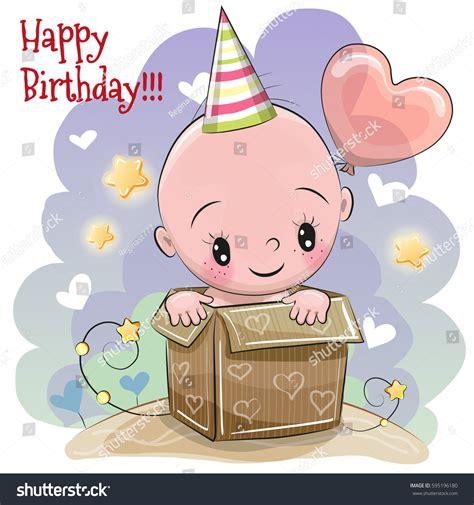 birthday card cute cartoon baby box stock vector