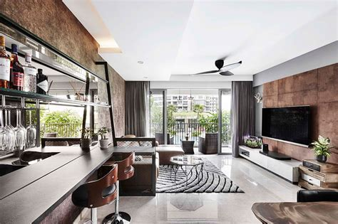 A stylish apartment in marble, wood and concrete