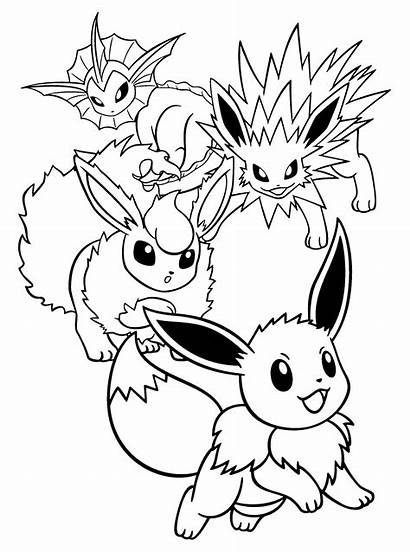 Pokemon Eevee Coloring Vaporeon Pages Flareon Evolutions