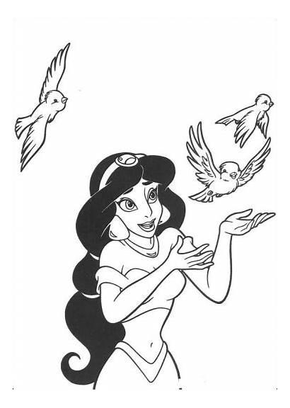 Jasmine Disney Princess Coloring Pages Aladdin Three