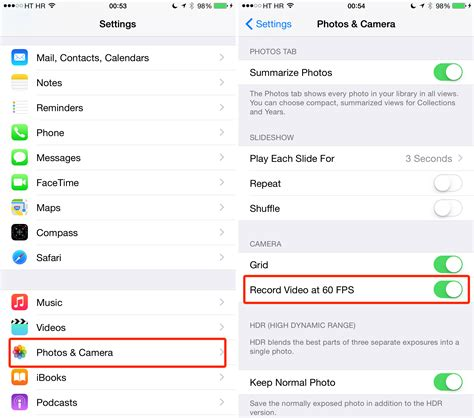 enable full  fps video recording  iphone