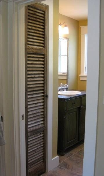 Antique Shutter As Linen Closet Door, Antique Sideboard As