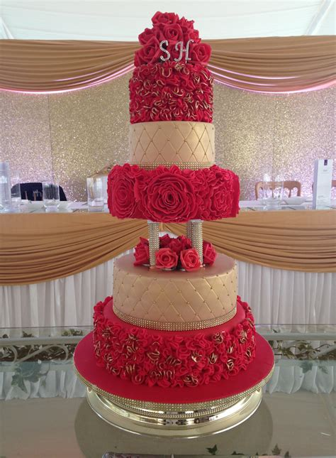 tier red gold wedding cake sugarbliss cake company
