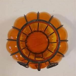 Halloween, Pumpkin, Amber, Glass, Candleholder, Inside, Metal, Frame, Second, Time, Around
