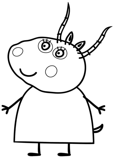 Madame Gazelle Peppa pig coloring pages Cartoon