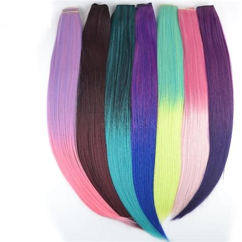 20 24 Pcs Colorful Clip In Hair Extensions Solid Color Or