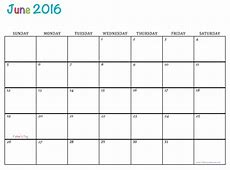 June 2016 Free Printable Calendar Calendar Template 2018