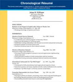 chronological resume word template