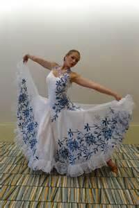 elegant white  blue flower ballroom dress