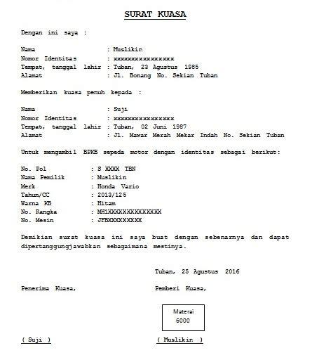 Berikut ini cuplikan tentang contoh surat kuasa pengambilan sertifikat pelaut terbaru untuk contoh surat kuasa dan contoh format administrasi surat menyurat lainnya. Contoh Surat Kuasa Untuk Balik Nama Kendaraan Bermotor