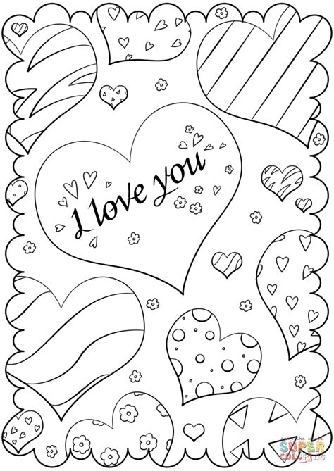 Free Coloring Cards by S Day Card Quot I You Quot Coloring Page Free