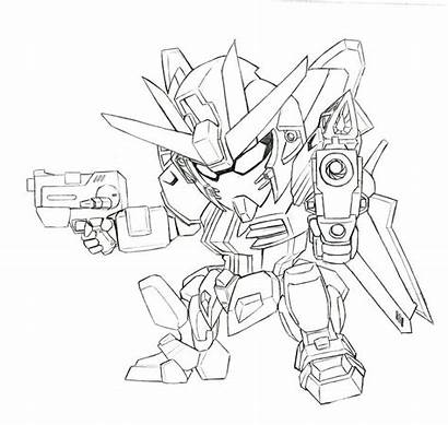Gundam Coloring Pages Strike Drawing Colouring Noir