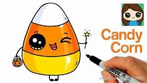 How to Draw Cute Candy Corn Easy | Cartoon Food - YouTube