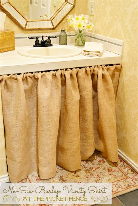 Burlap Utility Sink Skirt by No Sew Burlap Bathroom Vanity Skirt At The Picket Fence