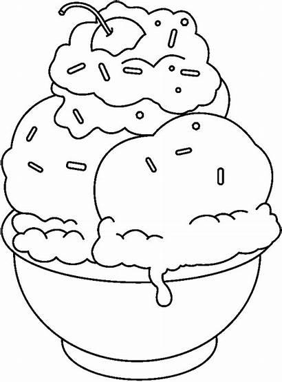 Ice Cream Coloring Sundae Clipart Hitam Putih
