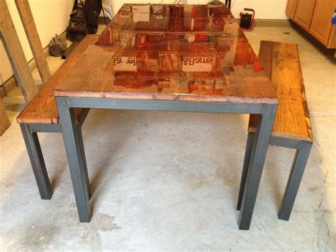 Steel Framed Kitchen Table and Benches   Reclaimed