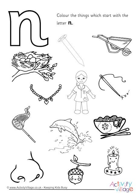 things that start with the letter n start with the letter n colouring page 25259