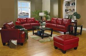 Samuel red leather living room set 501831 from coaster for Red living room set