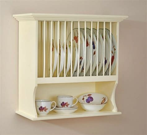 traditional buttermilk wall mounted plate rack shelf unit  country kitchen ebay