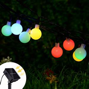 Coolmade, Solar, Globe, Fairy, String, Lights, 50, Led, Ball, Outdoor, String, Lights, Waterproof, With, 8