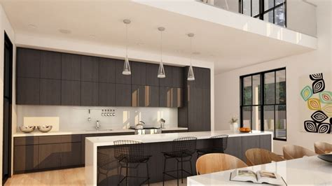 House Kitchen Breakfast Room And Deck by Two Storey House With A Loft Panoramic Windows And Large