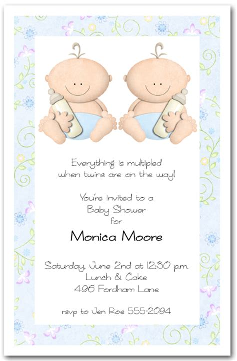 babycakes twin boy baby shower invitations