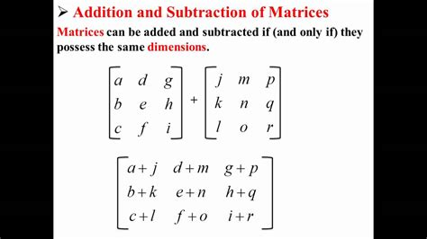 addition  subtraction  matrices youtube