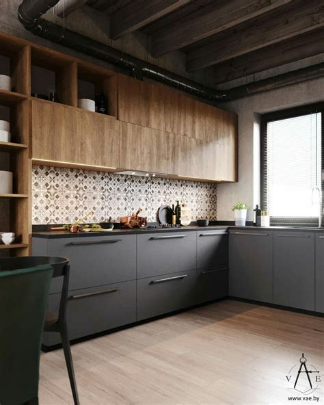 diseno mueble cocina  madera  color gris combinados