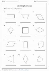 Quadrilateral Worksheets Identify Parallelogram Math Maths Quadrilaterals Each Type Rhombus Trapezoid Line Rectangle Square Coloring Chart Grade Geometry Kite Area sketch template