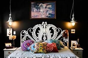Bedroom in black with classy pendant lights decoist