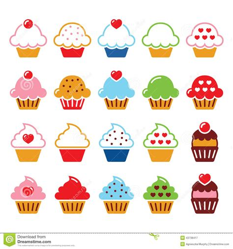 cupcake  heart cherry  sparkles cute icons set